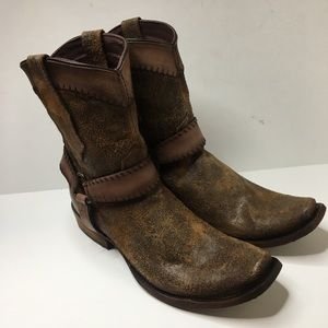 Corral western harness leather boots cognac